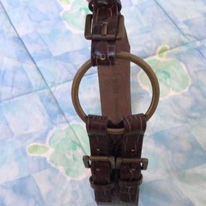 Genuine leather brown animal skin belt w/3 buckles